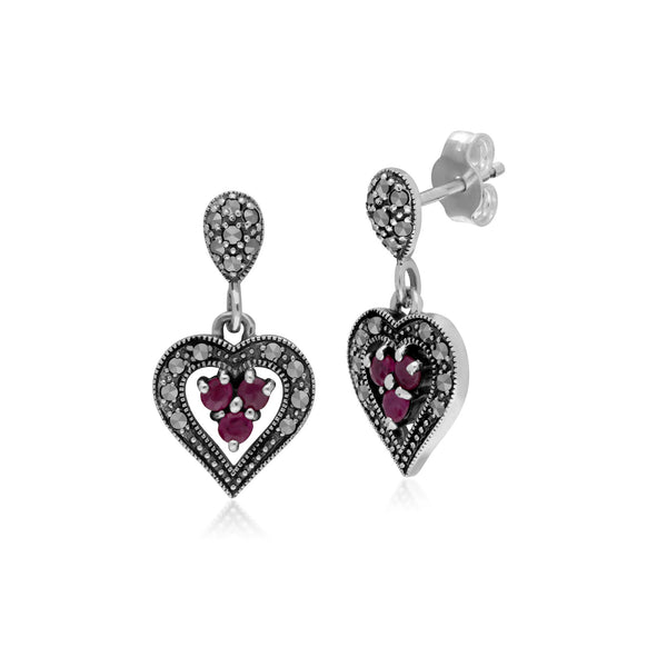 Vintage Inspired Ruby & Marcasite Earrings Image 1