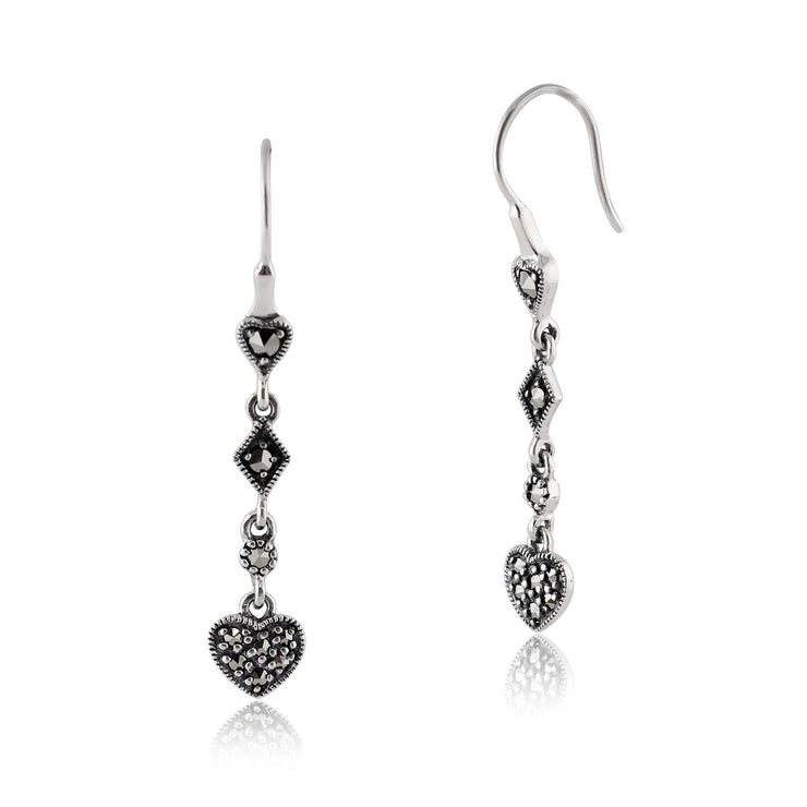 Art Deco Marcasite Pave Set Heart Drop Earrings Image 1