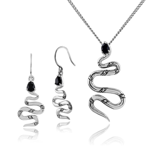 Art Nouveau Snake Drop Earrings & Pendant Set Image 1
