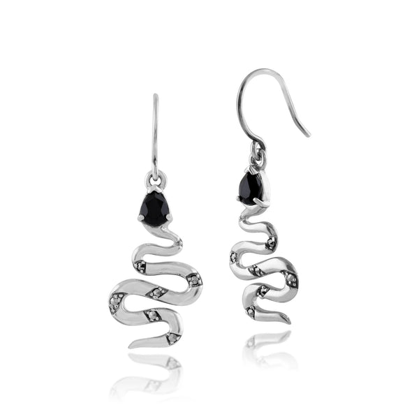 Art Deco Black Spinel & Marcasite Snake Drop Earrings Image 1