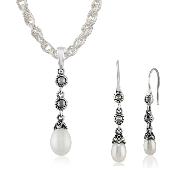 Art Deco Pearl & Marcasite Drop Earrings & Pendant Set Image 1