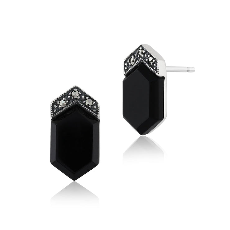 Art Deco Black Onyx & Marcasite Stud Earrings Image 1