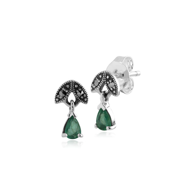Art Nouveau Emerald & Marcasite Drop Earrings Image 1