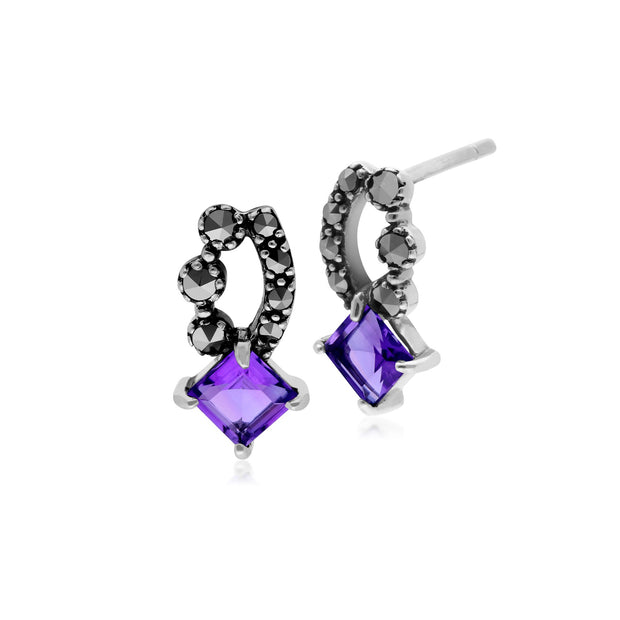 Art Nouveau Amethyst & Marcasite Stud Earrings Image 1