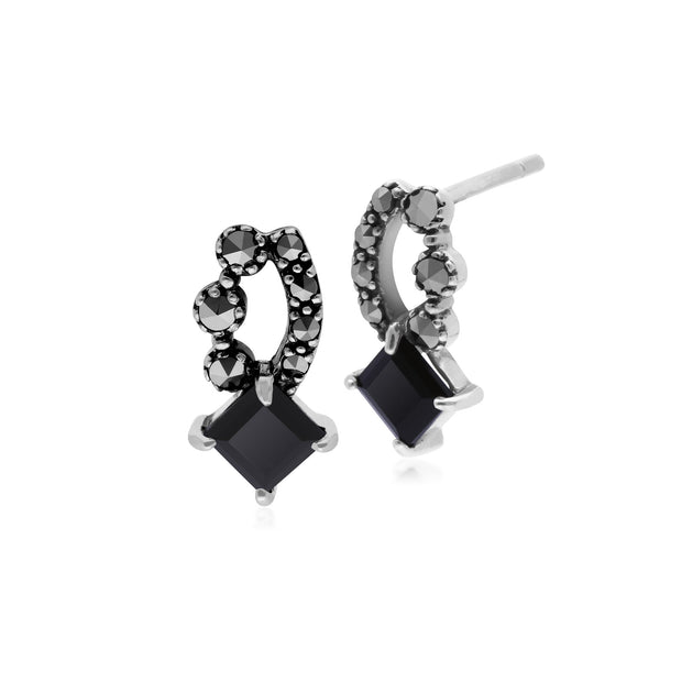 Art Nouveau Black Onyx & Marcasite Stud Earrings Image 1