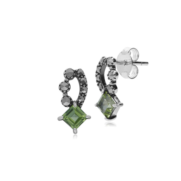 Art Nouveau Peridot & Marcasite Stud Earrings Image 1