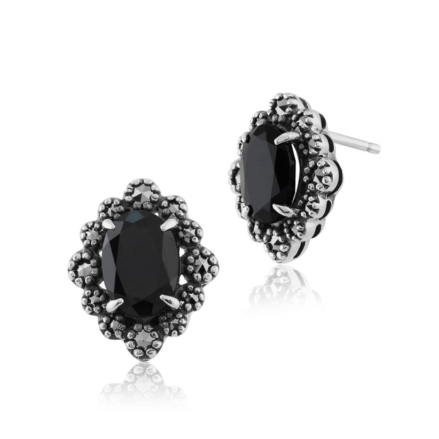 Art Deco Black Spinel & Marcasite Stud Earrings Image 1