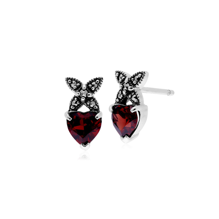 Classic Garnet & Marcasite Heart Cross Stud Earrings Image 1