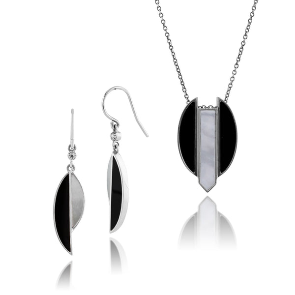 Art Deco Mother of Pearl, Marcasite and Black Onyx Segment Drop Earrings & Pendant Set Image 1
