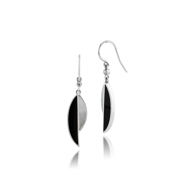 Art Deco Mother of Pearl, Marcasite and Black Onyx Segment Drop Earrings & Pendant Set Image 2
