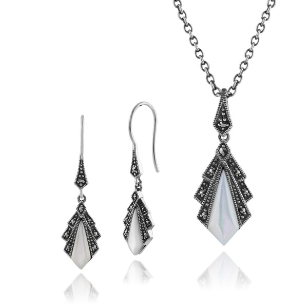 Art Deco Mother Of Pearl & Marcasite Fan Drop Earrings & Pendant Set Image 1