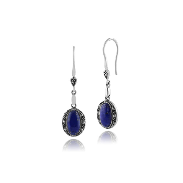 Art Deco Style Oval Lapis Lazuli Cabochon & Marcasite Drop Earrings in 925 Sterling Silver