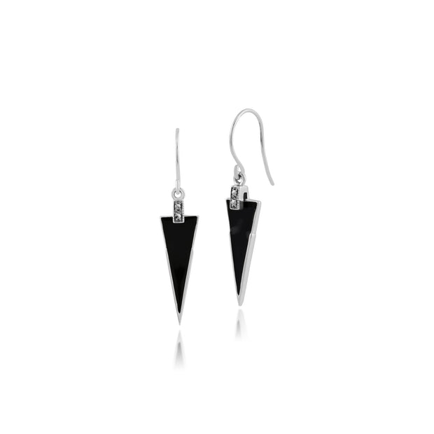 Art Deco Enamel & Marcasite Triangle Drop Earrings Image 1