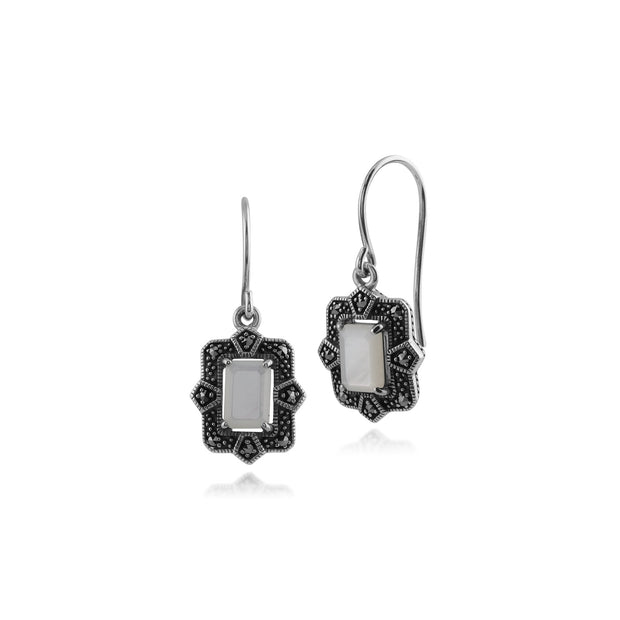 Art Deco Mother of Pearl & Marcasite Drop Earrings & Ring Set Image 2