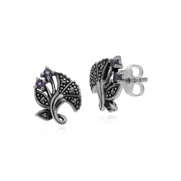 Art Nouveau Amethyst Leaf Stud Earrings Image 1