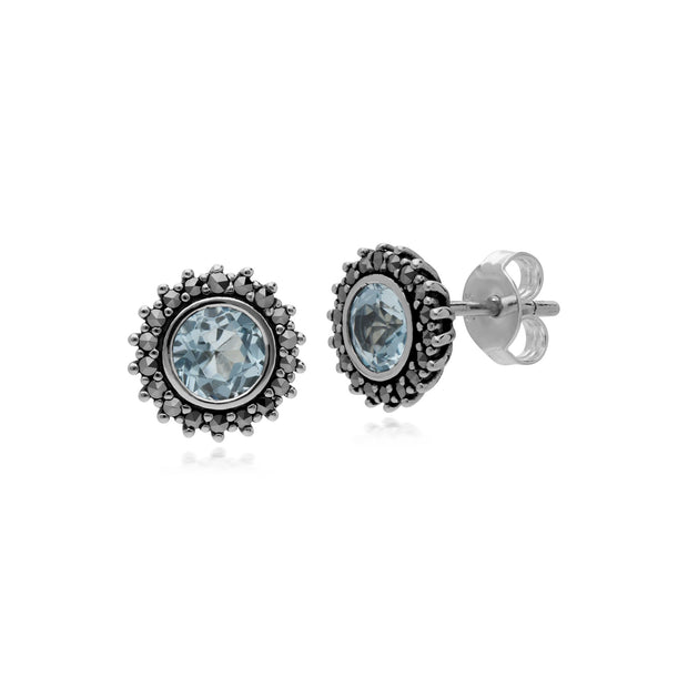Art Deco Blue Topaz & Marcasite Halo Stud Earrings Image 1
