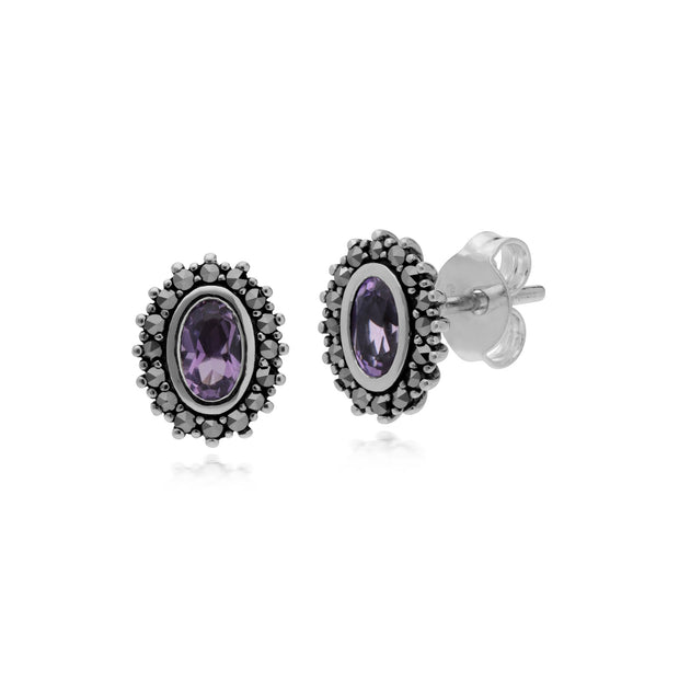 Art Deco Amethyst & Marcasite Halo Stud Earrings Image 1