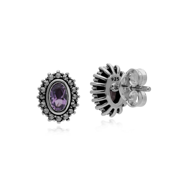 Art Deco Amethyst & Marcasite Halo Stud Earrings Image 2