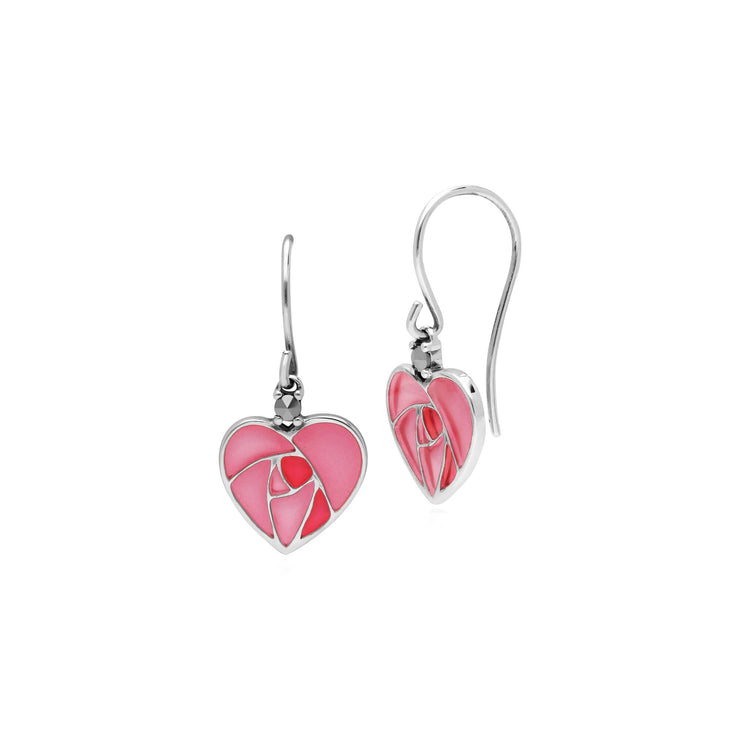 Rennie Mackintosh Enamel Rose Heart Drop Earrings Image 1