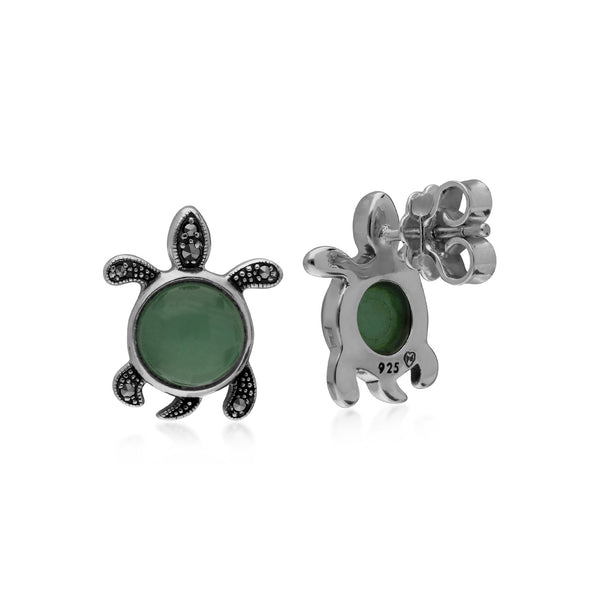 Animal Green Jade & Marcasite Turtle Stud Earrings Image 2