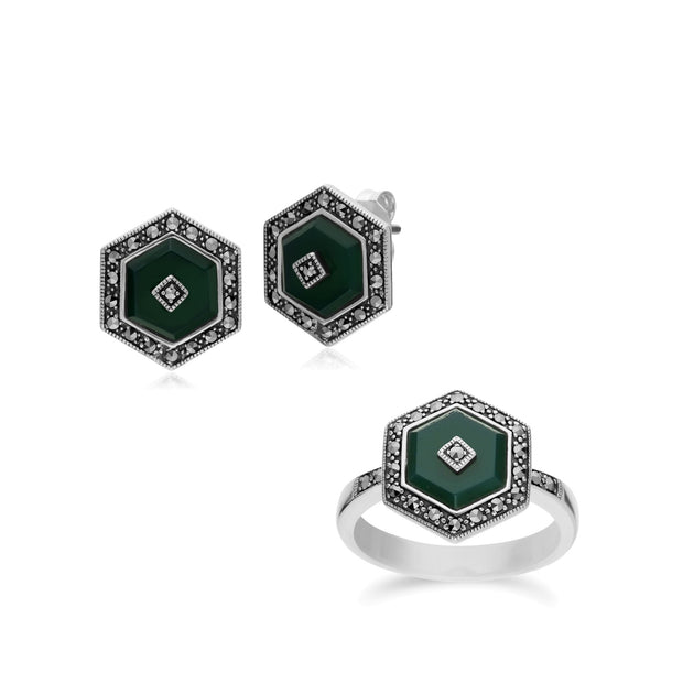 Art Deco Chalcedony Hexagon Studs & Ring Image 1