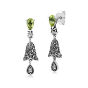Art Nouveau Peridot & Marcasite Drop Earrings Image 1