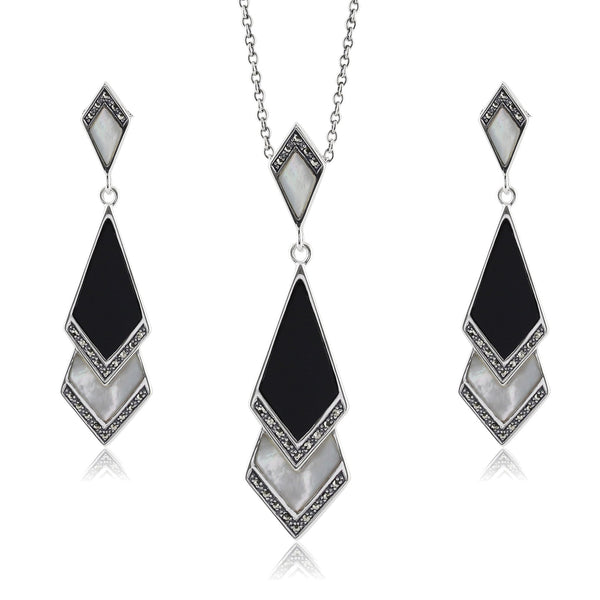 Art Deco Black Onyx & Mother of Pearl Fan Drop Earrings & Necklace Set Image 1