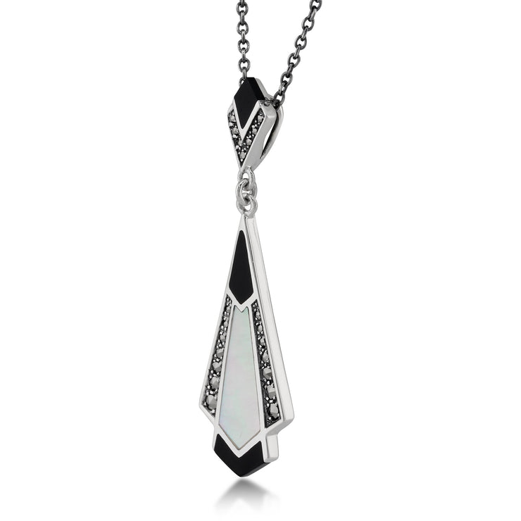 Art Deco Black Onyx, Mother of Pearl & Marcasite Pendant on Chain Image 2