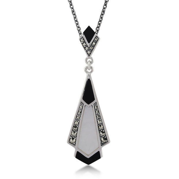 Art Deco Black Onyx, Mother of Pearl & Marcasite Pendant on Chain Image 1