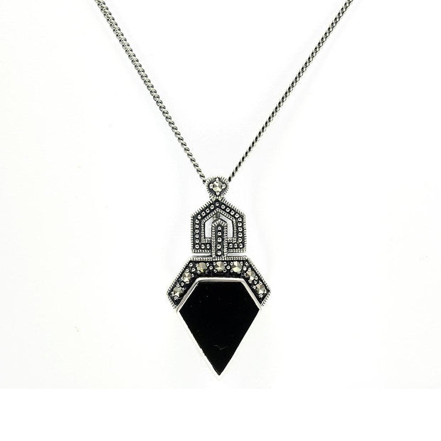 Art Deco Onyx and Marcasite Pendant on Chain Image 1