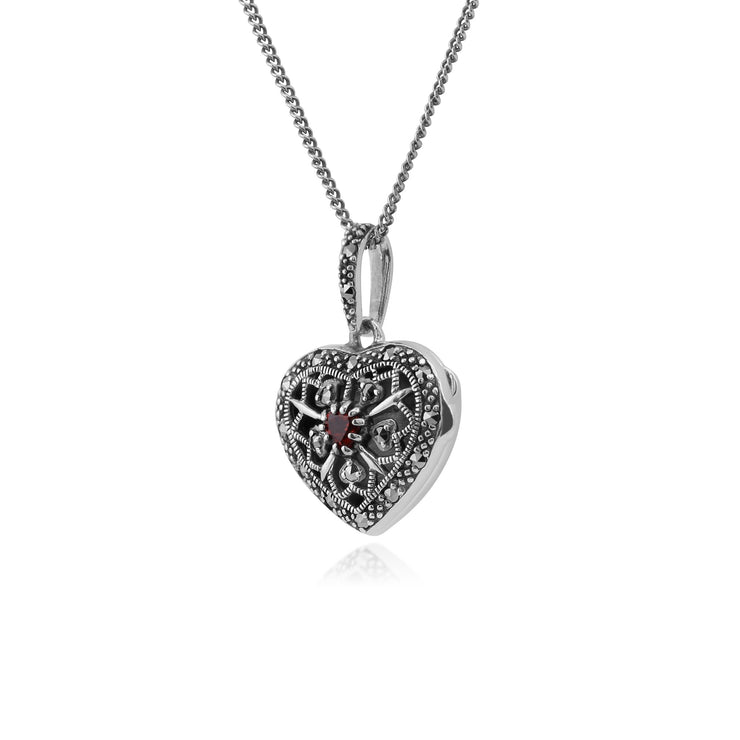 Art Nouveau Garnet & Marcasite Heart Locket Necklace Image 1