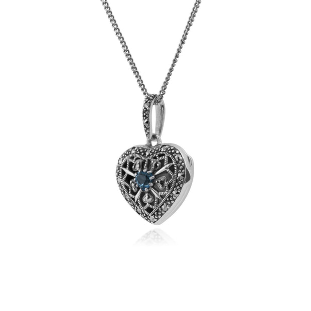 Art Nouveau Blue Topaz & Marcasite Heart Locket Necklace Image 2