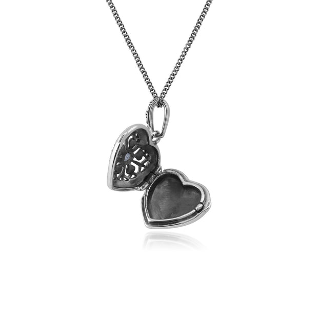 Art Nouveau Tanzanite & Marcasite Heart Locket Necklace Image 3