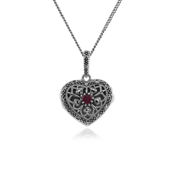 Art Nouveau Style Round Ruby & Marcasite Heart Necklace in 925 Sterling Silver
