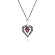 Vintage Inspired Ruby & Marcasite Pendant Necklace Image 1