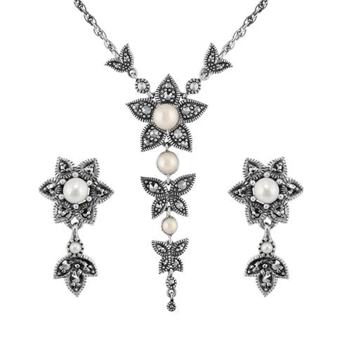 Floral Pearl & Marcasite Drop Earrings & Pendant Set Image 1