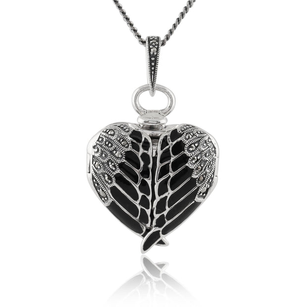 Art Nouveau Marcasite & Black Enamel Angel Wing Heart Locket on Chain Image 1