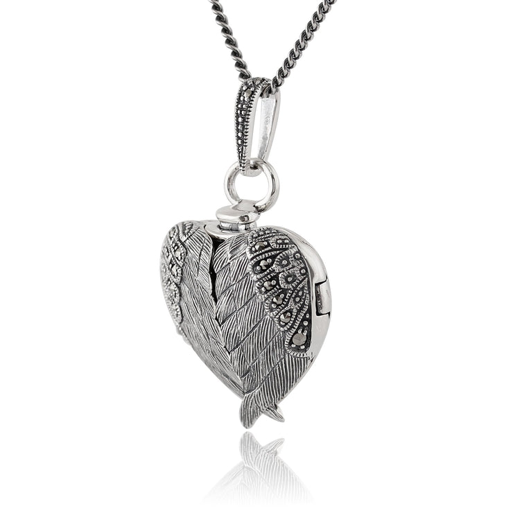Art Nouveau Marcasite Angel Wing Heart Locket on Chain Image 2
