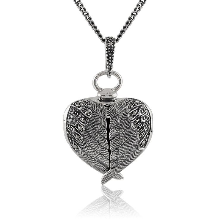 Art Nouveau Marcasite Angel Wing Heart Locket on Chain Image 1