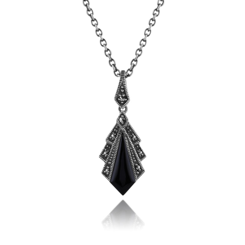 Art Deco Black Onyx & Marcasite Pendant on Chain Image 1
