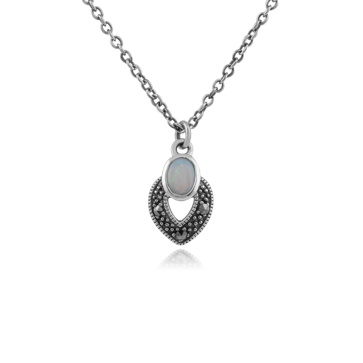 Art Deco Opal & Marcasite Necklace Image 1