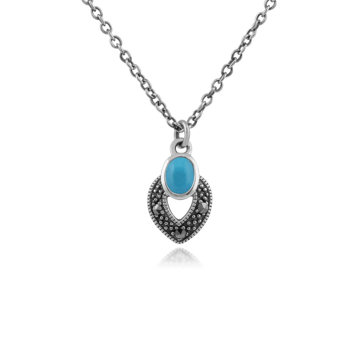 Art Deco Turquoise & Marcasite Necklace Image 1