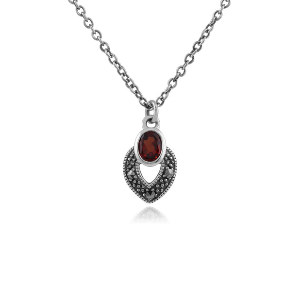 Art Deco Garnet & Marcasite Necklace Image 1