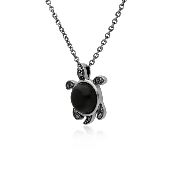 Classic Round Black Onyx & Marcasite Turtle Necklace in 925 Sterling Silver