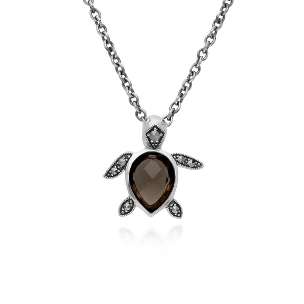 Animal Smokey Quartz & Marcasite Turtle Necklace Image 1