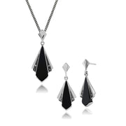 Art Deco Black Onyx Marcasite Fan Drop Earrings Pendant Set Image 1