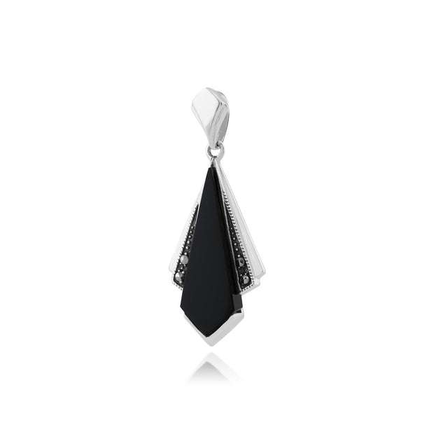 Art Deco Black Onyx & Marcasite Fan Drop Pendant Image 2