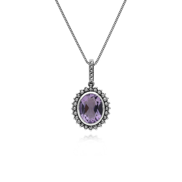 Art Deco Amethyst & Marcasite Halo Oval Pendant Image 1