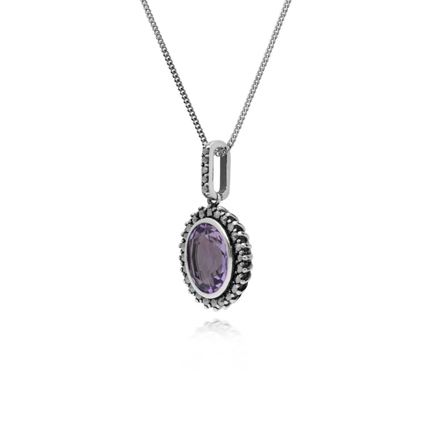 Art Deco Amethyst & Marcasite Halo Oval Pendant Image 2