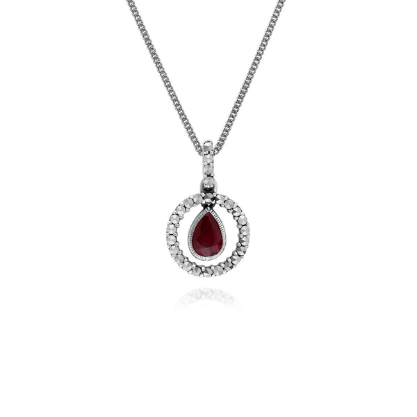 Classic Ruby & Marcasite Halo Pendant Necklace Image 1